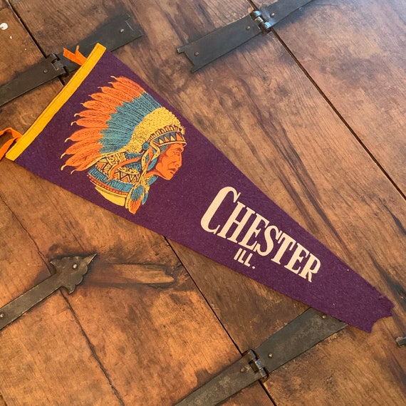 1930s Chester Illinois vintage pennant