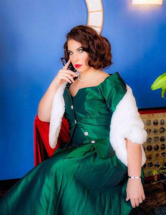 Vintage emerald green taffeta strapless dress and jacket