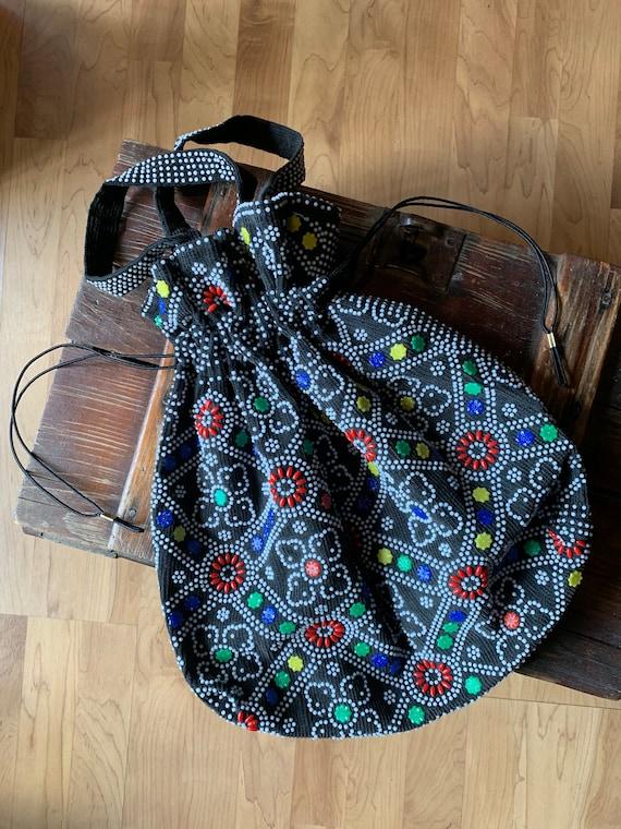 1970s Boho colorful Beaded Drawstring Bag