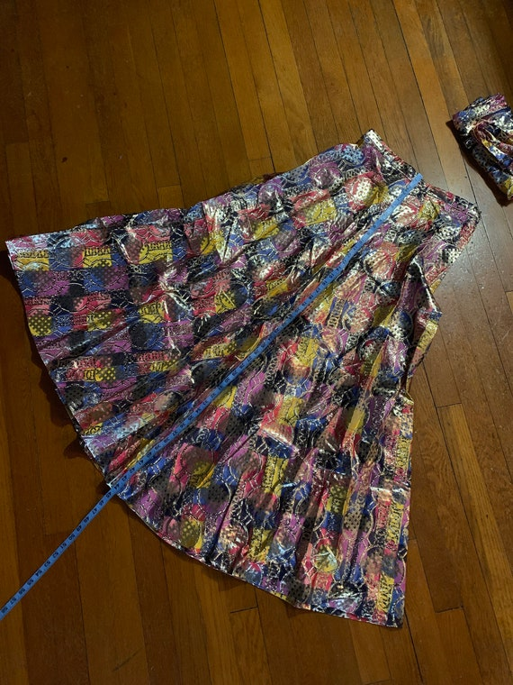 Colorful metallic gold skirt set - image 3