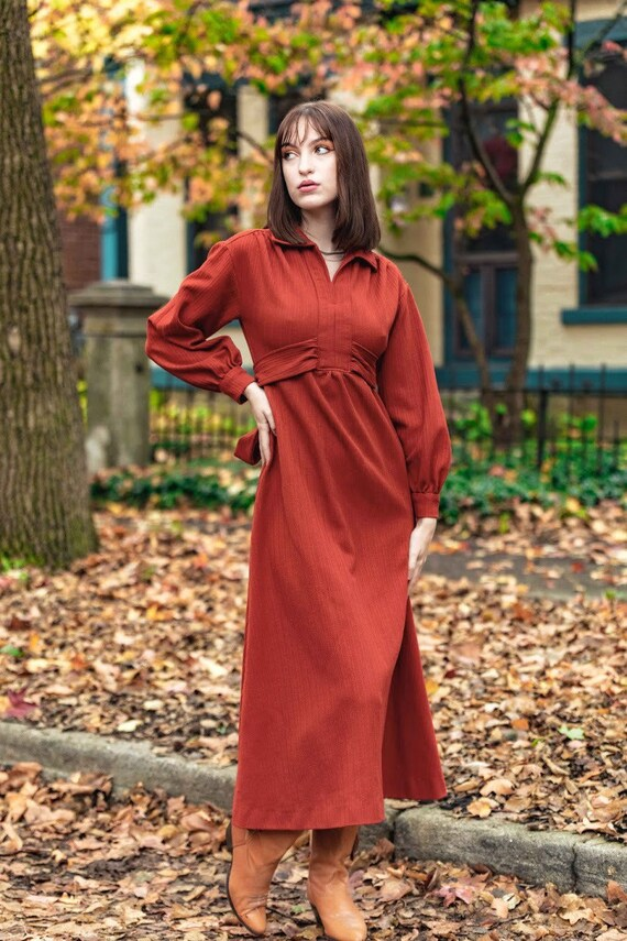 1970s Rust color dress