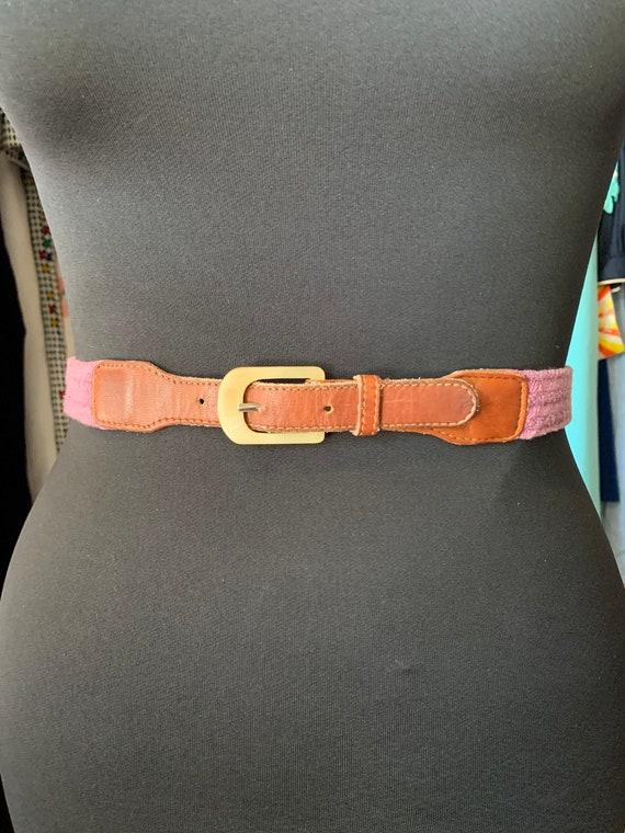"Vintage ""Calvin Klein"" Purple rope Brown Leather Belt"