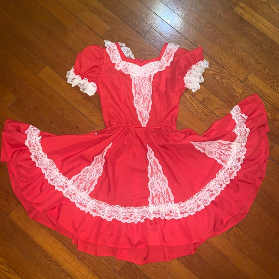 Red square dancing dress by Colorado casuals