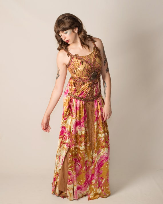 Formal Embellished Pink and Bronze Evening Gown