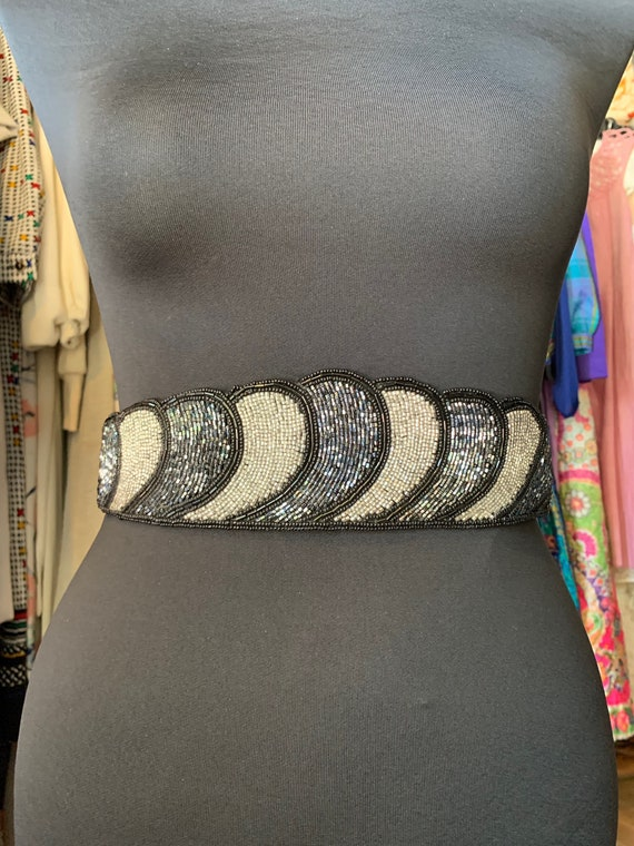 Vintage Silver and Black Beaded Belt