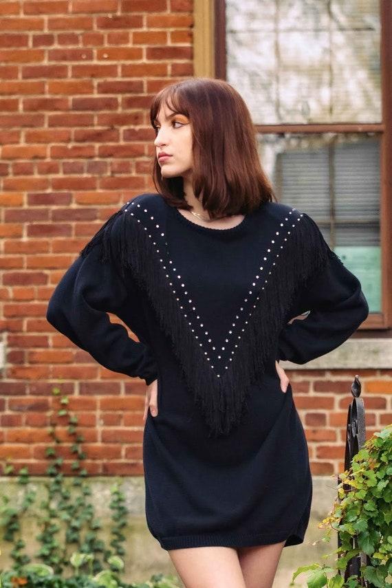 80s black fringed sweater dress