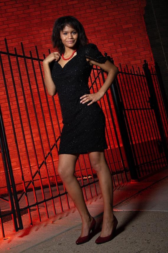 80s black beaded cocktail dress