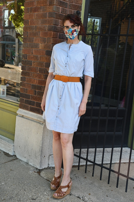1960s vintage blue and white checked cotton dress
