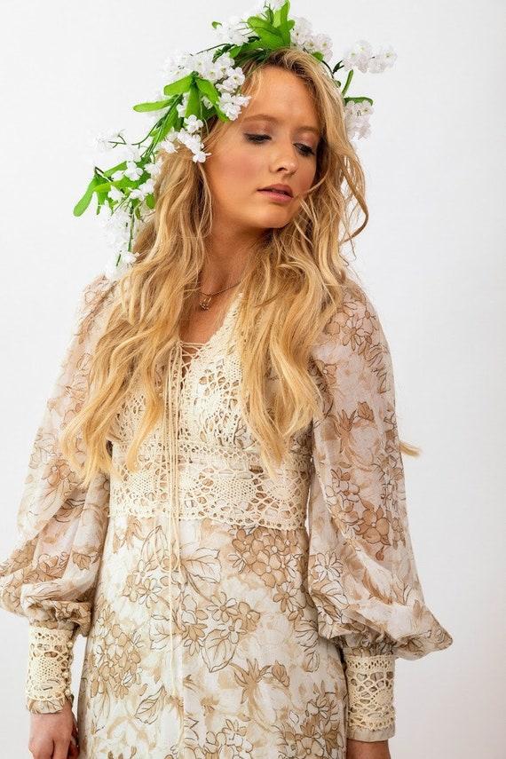 Gunne Sax brown floral boho Prairie Dress - image 3