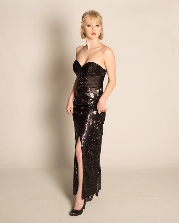 Black sequin gown
