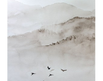 Monochrome (Sepia) landscape with mountains and birds