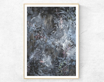 MIDNIGHT GARDEN abstract painting fine art print