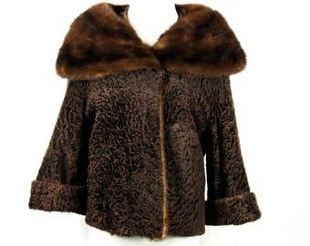 Brown Sheared Persian Lamb Mink Coat Women's Small Vintage 1950s