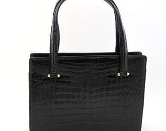 a4071453b5 Lucille de Paris Black Alligator Handbag Purse Vintage 1950s