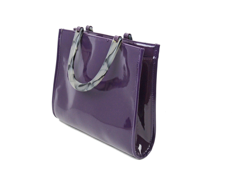 Neiman Marcus Purple Vinyl Handbag Designer Tote with Lucite  c8015d957ed05
