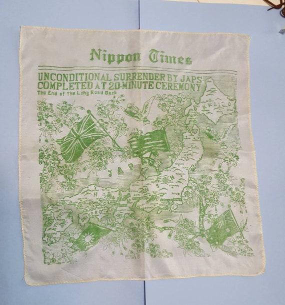 Vintage Souvenir WWII Japanese Surrender Silk Scar