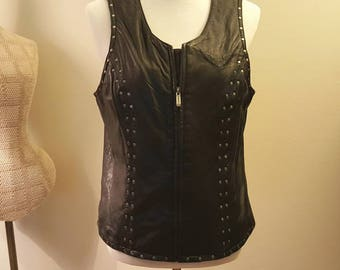 Harley Davidson Vest/ Woman's Black Leather Vest /Black Leather Vest size L