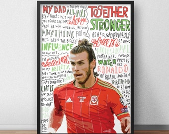 Gareth Bale Print Poster Hand Drawn Typography Quotes Football Sport