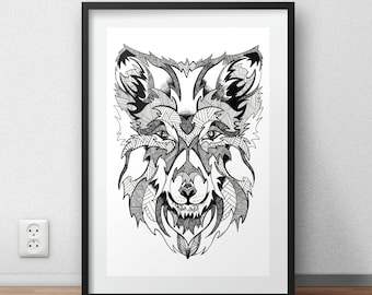 Wolf print / poster hand drawn zen styled patterned animal print / poster
