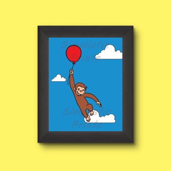 Curious George wall art 13x19 11x14 8x10 | Etsy