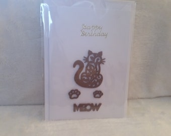 Handmade Birthday Card Size A6 Brown Foam Cat and Paws