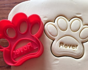 Personalized Paw Print Dog Treat cookie cutter with name imprint