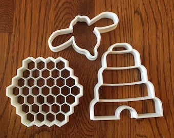 Bee, Beehive, and Honeycomb Set of three cookie and fondant cutters