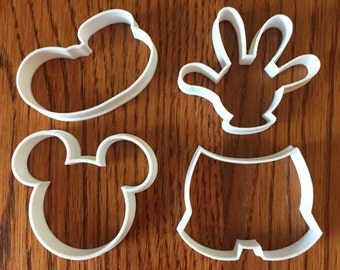 Mickey Mouse four piece set of cookie and fondant cutters