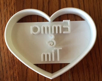Personalized Wedding or Valentine's Day Wide Heart Shaped cookie cutter with name imprint