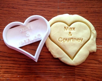 Personalized Wedding or Valentine's Day cookie cutter with name imprint