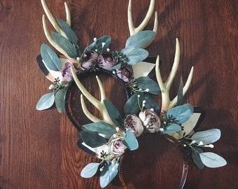 Beautiful Deer Headband Pink Gold Ivory Satin Couture Floral Deer Headband for First Birthday Baby Girl 6-18 Months Gold Polka Dot Headband