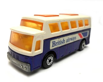 1970s Vintage Matchbox Superfast 65e Airport Coach - British Airways Toy Collectible. Made in England