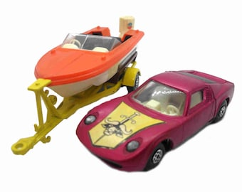 1970s Vintage Matchbox Speed Kings K29 Lamborghini Miura-Boat & TrailerSet . Toy Collectible. Made in England