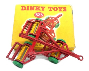 1950s Vintage Dinky 323 Triple Gang Mower. Toy Collectible. Made in England