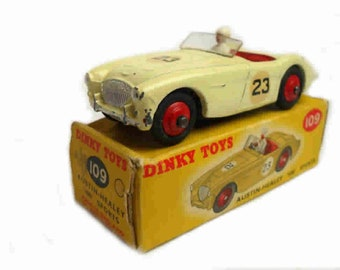 1950s Vintage Dinky 109 Austin Healey Competition Racing Car Toy Collectible Made in England