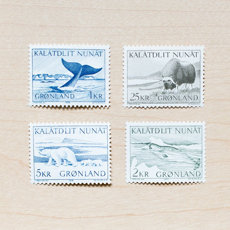 Vintage Narwhal Greenland Postage Stamps Whale Polar Bear Wedding Stamps For Calligraphy Envelopes Styling Stationary Invitations