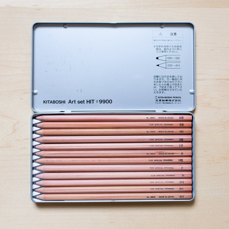 Natural Finish Cedar Wood in a metal tin Minimal Design Stationary Gift Japanese Pencil box Kitaboshi 4H to 6B Art Set of 12 Pencils