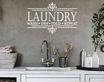 Laundry Wall Decal Etsy