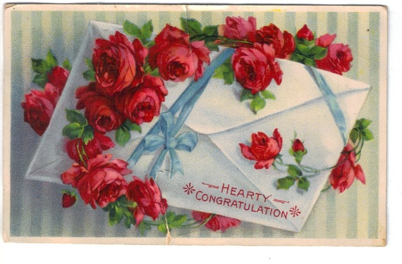 Hearty Congratulations, Pink Red Rose vine, Envelope, blue ribbon, blue  stripes, Birthday, Any Special Occasion