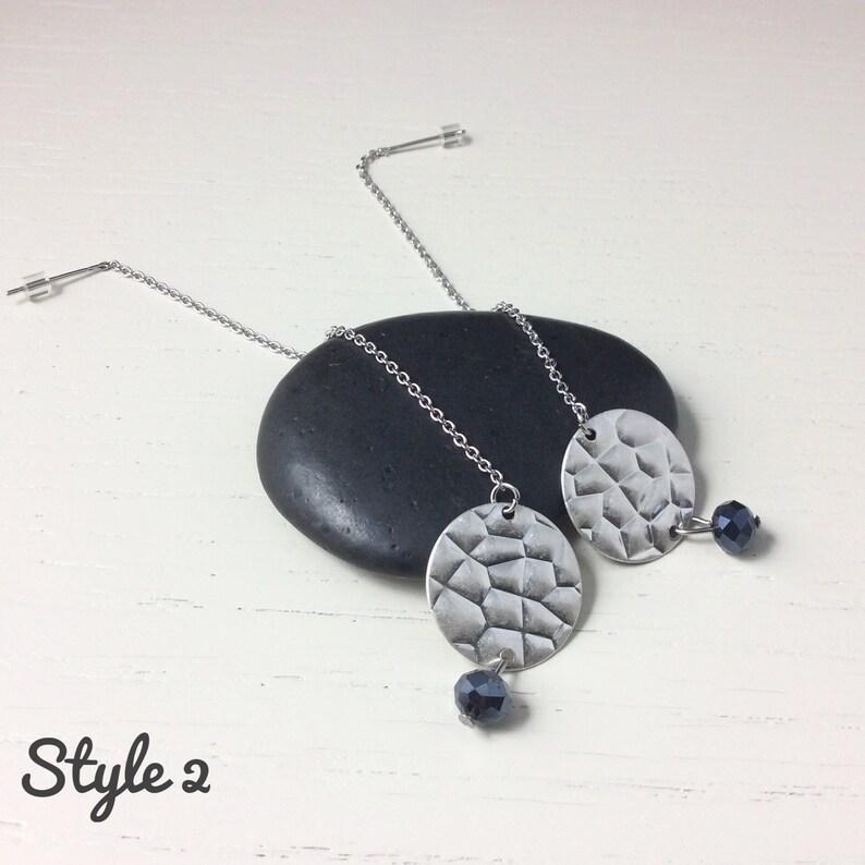 black hammered metal minimalist earrings Nickel free Dainty black bling threader earrings