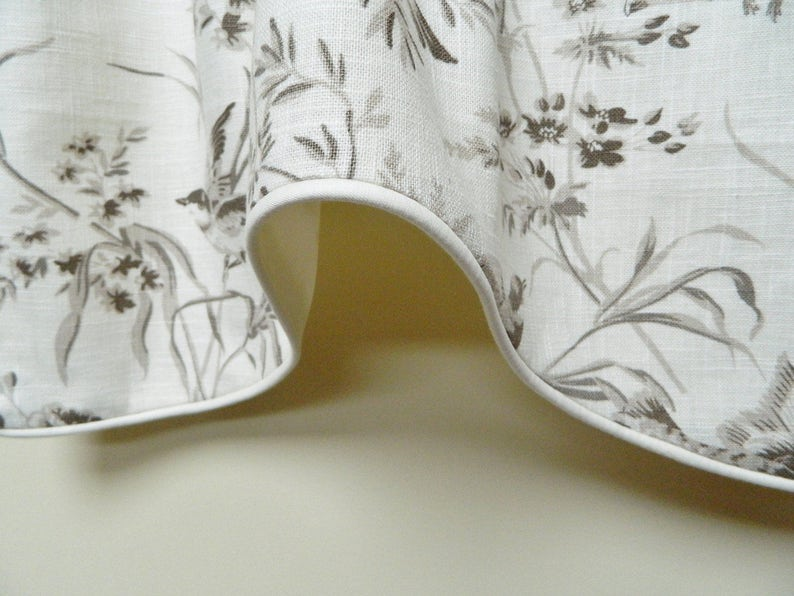 Corded Scalloped Valance  Linen Toile French General Projet Bisque Designer Window Valance  Lined