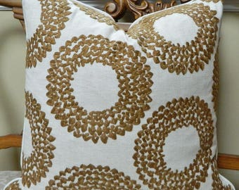 Dashiki Cinnamon by Clarke and Clarke -Decorative Pillow Cover Euro Sham Lumbar Pillow Cover/  Embroidered /crewel Medallion / All Size