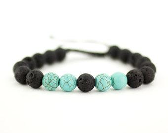 Lava Stone Bracelet w/ Teal Stone Beads, Lava Bead Bracelet, Black Lava Bracelet, Healing Bracelet, Yoga Bracelet, Lava Rock Bracelet