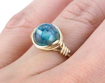 Gold Turquoise Ring, Turquoise Gold Ring, Turquoise Ring, Turquoise Ring, Wire Wrap Ring, Wire Wrapped Ring, Boho Ring, Bead Ring, Gold Ring