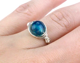 Small Turquoise Ring, Silver Turquoise Ring, Turquoise Ring, Wire Wrap Ring, Wire Wrapped Ring, Boho Ring, Bead Ring, Silver Bead Ring