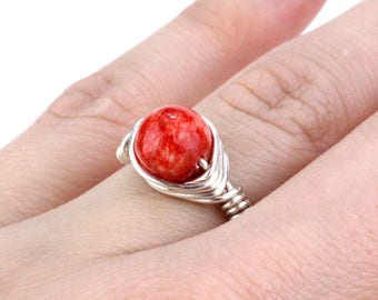 Silver Red Ring, Red Stone Ring, Red Gemstone Ring, Red Garnet Ring, Wire Wrap Ring, Wire Wrapped Ring, Boho Ring, Bead Ring, Beaded Ring