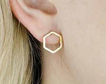 Gold Hexagon Earrings, Hexagon Studs, Gold Hexagon Earring, Gold Dainty Earrings, Honeycomb Earrings, Gold Hexagon, Geometric Earrings