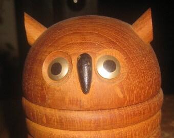 Mid Century Wooden Owl Coaster Set