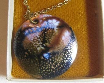 Vintage Jules Perrier, Handmade Enamel Pendant Necklace in Jules Perrier Box