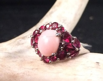 Pink Jade and Rhodolite garnet sterling silver ring